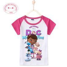 2016 new Summer Fashion Doc Mcstuffins Girl T-Shirts Kids Children Clothes Cotton 3D Print Cartoon T Shirt For Baby Girls Tees