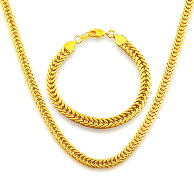 High quality Korean snake chain Suitable for men and women Jewelry 18K Real Gold Plated Necklace Bracelet N60046(China (Mainland))
