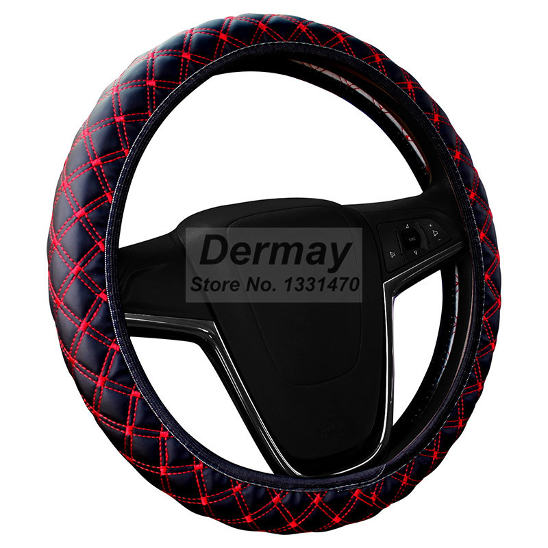 Factory SALE PU Leather Steering Wheel Cover New Korean Plaid For Auto Car With 4 Colors For Choice Four Seasons General(China (Mainland))