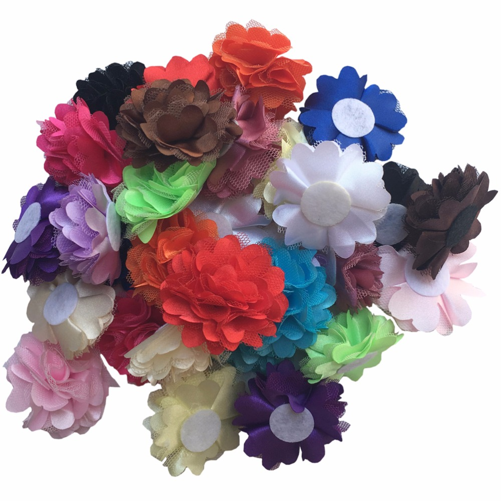 30 pcs/lot, DIY Mini Mesh Satin Hair Flower Newborn headband DIY Hair bands Kids Hair Accessories A115-5(China (Mainland))