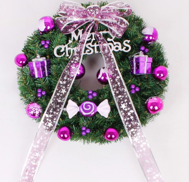 Free Shipping 2015 Wedding Ornament Suppliers Christmas Pink Bow Purple Baubles Wreath(China (Mainland))