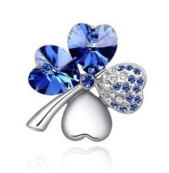 High Quality Fashion Gold/Silver Plated Austrian Crystal Four Leaf Heart Clover Brooches Pins Jewelry For Women Wholesale(China (Mainland))