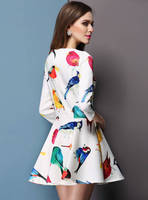 Casual 2015 Summer Style Sexy Bodycon Birds Print O Neck Pleated Party White Dress Women Vestidos Cheap Clothes China WB1577