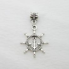Free shipping! 25pcs Rudder Tibetan silver big hole pendant fit Pandora jewelry charm bracelet DIY pendant. X02