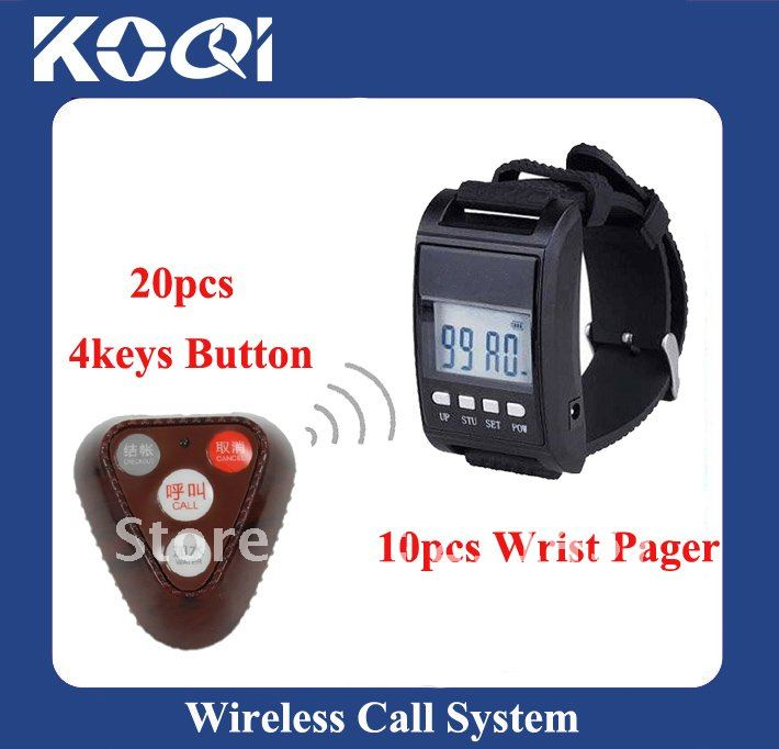 433.92mhz Wireless Call Bell System , 20 Call Bells and 10 Watch receivers ; Freeshipping by DHL/EMS(China (Mainland))