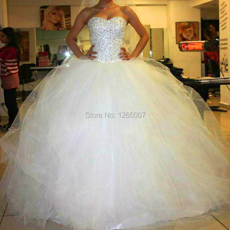Fashion Sweetheart Sparkly Beaded Diamond Puffy Tulle Ball