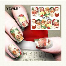 YZWLE 1 Sheet Christmas Design DIY Decals Nails Art Water Transfer Printing Stickers Accessories Manicure Salon (YZW-2136) - GuangZhou YouZuoWei International Trading Co.,Ltd. store