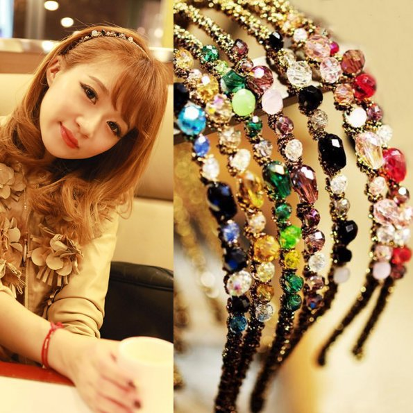 1PCS New Fashion Women Girls Rhinestone Crystal Headband Delicate Glitter Hair Band Headwear 7 Colors(China (Mainland))