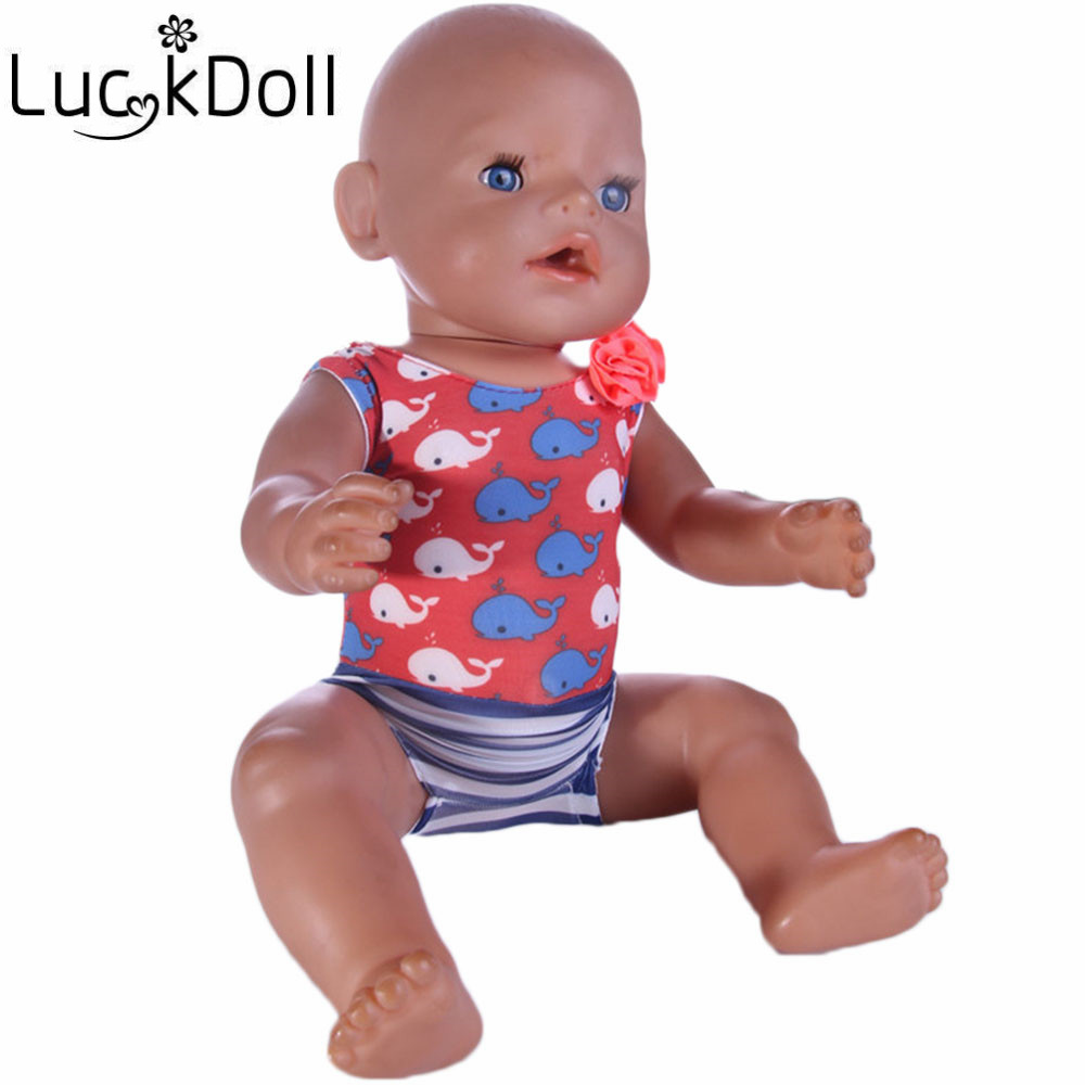 luck doll Baby Born Doll Dress Clothes fit 43cm Baby Born Zapf Dolphin swimsuit Doll Accessories For 43cm Love Hope Gift b208(China (Mainland))