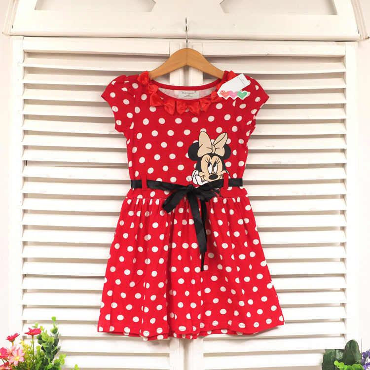 2015 New summer Minnie Girls Dresses Red Short Sleeve Dots Stripe Kids Girl Dress with Belt  Top Quality free shipping<br><br>Aliexpress