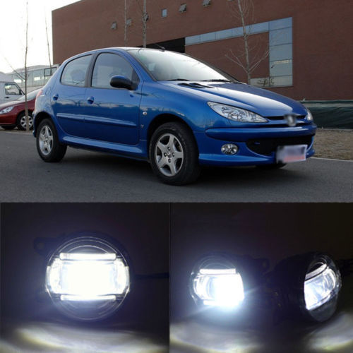 Superb LED Daytime Running Light DRL Bars+Q5 Lens Foglight For Peugeot 206(China (Mainland))