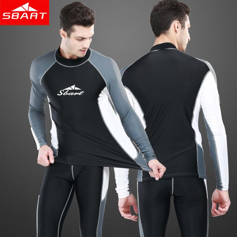 SBART Long Sleeve Rashguard For Men Lycra Surf Top Swimsuit Rash Guard Sunscreen Swimming Shirt Tops Mens Long Swim Pants 2015 H(China (Mainland))