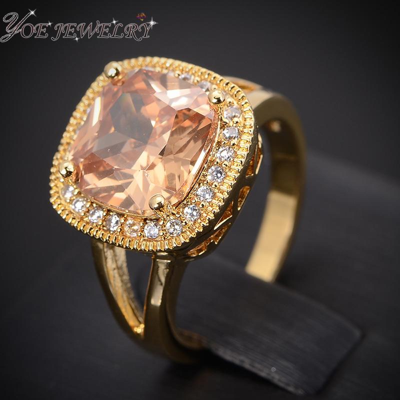 IYOE Magic Cube Luxury Engagement Wedding Rings Female New Fashion Champagne Crystal Cocktail Ring Wholesale(China (Mainland))