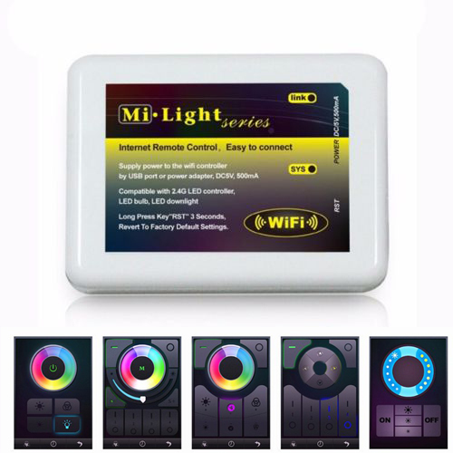 Dimmable MiLight Wireless Wifi LED RF Remote Controller APP iOS Android for RGBW/RGB W/WW Single Color led Lamp Bulb Strip light(China (Mainland))