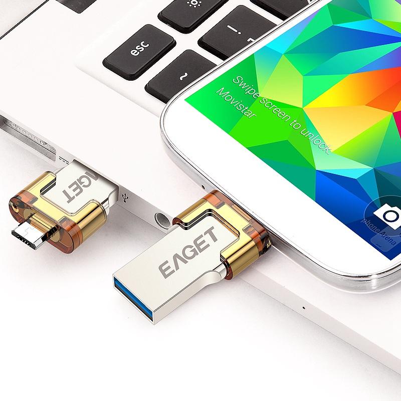 EAGET V80 Official 16G 32G 64G Smartphone USB 3 0 Flash Drive Pen Drive Micro USB