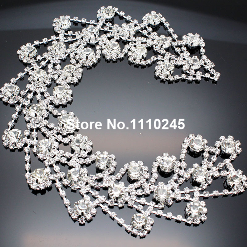 28.5*4cm AAA Crystal Clear Glass Rhinestone Applique Sewing on Wedding Evening Dress Belt Shoulder Sewing Decoration(China (Mainland))