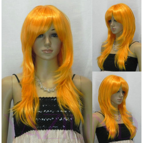 Long Wavy Bright Orange Fibre Hair Cosplay Role Play Japanese Wig heat resistant fibers Hair wigs Free Shipping(China (Mainland))