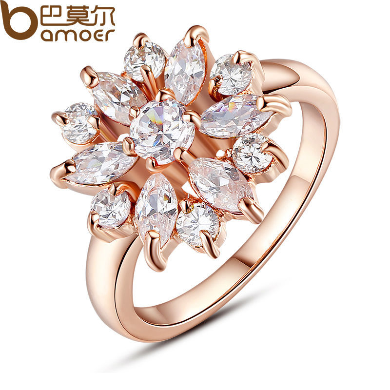 Bamoer 18K Rose Gold Plated Finger Ring for Women with AAA Cubic Zircon Engagement Jewelry #6 7 8 9 JIR029(China (Mainland))