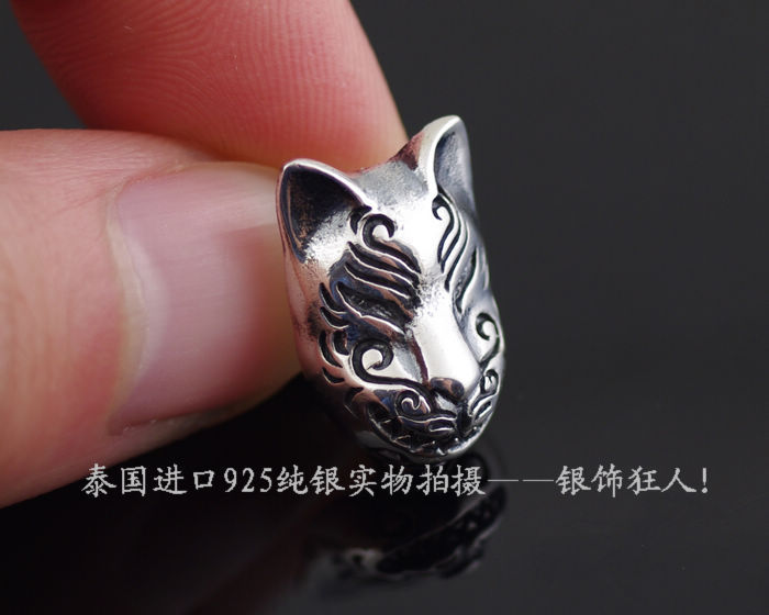 925 pure silver oriental vibrations fox male thai silver stud earring(China (Mainland))