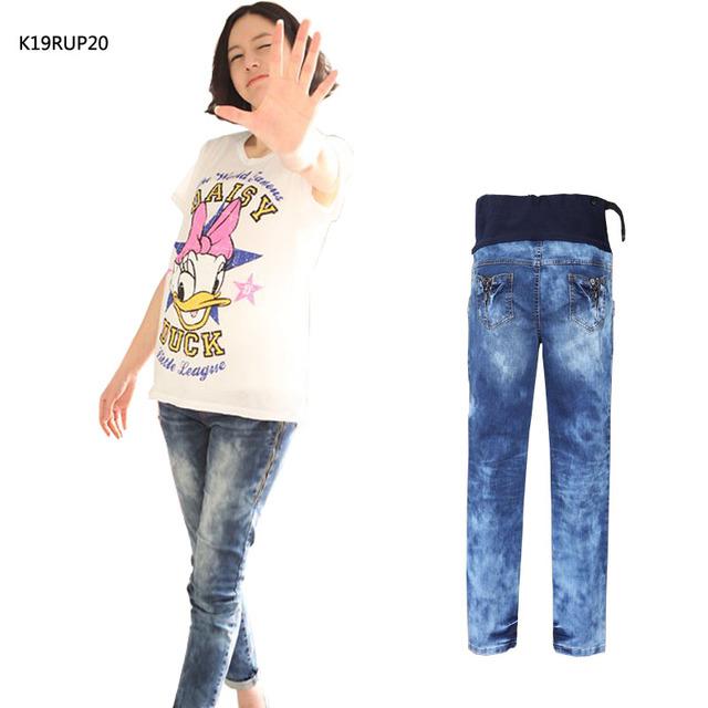 Материнство брюки Большой размер разорвал отверстие вышитые осень беременных одежды ...