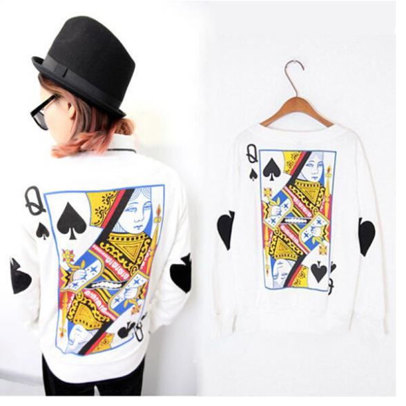 2016 Women Girl Tee Harajuku Cartoon Playing Cards Queen Printing Casual O-Neck Sweatshirts Hoodies KH658773(China (Mainland))