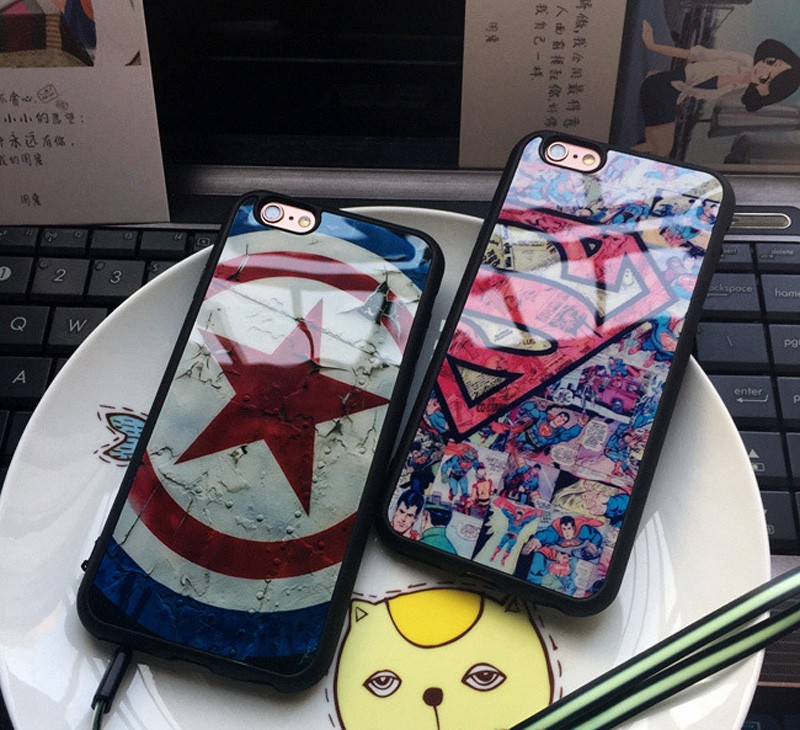 Star Captain America Superman Soft Silicone Frame half Mirror Back Cover Phone Case For Iphone 7 6 6s 4.7 / 7 Plus 5 5S SE Capa
