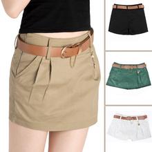 Women Fashion Casual Skorts Sexy Mini Skirts Cotton Short Hot Shorts Culottes Skirt-shorts Cargo Shorts 4 Colors F60*E3446(China (Mainland))