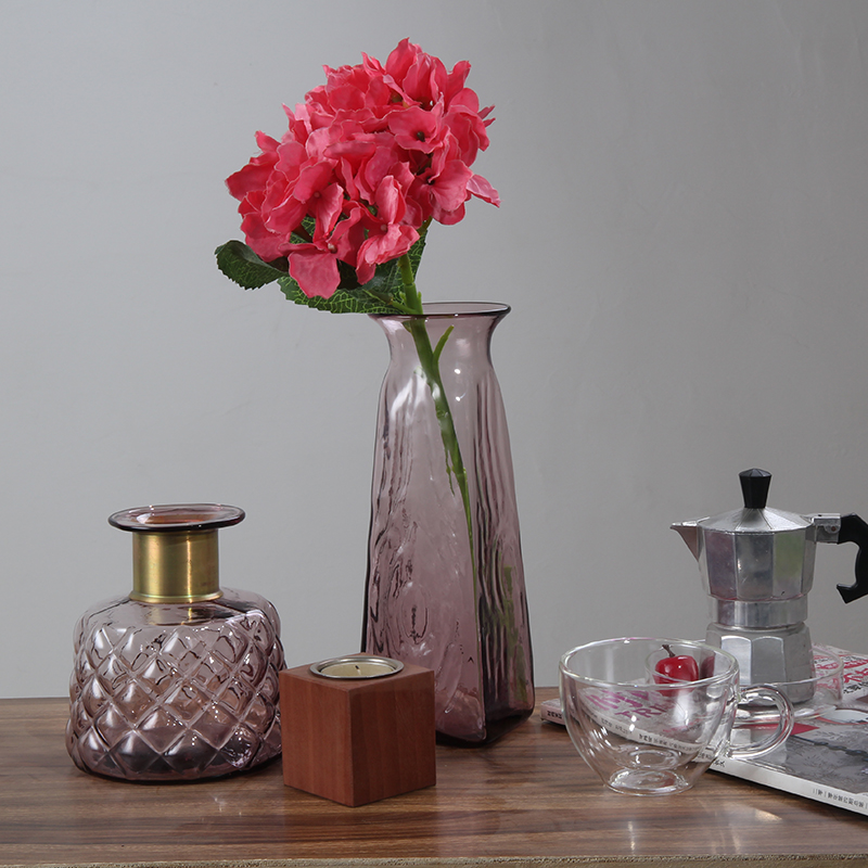 Stone and simple crystal clear glass ornaments pink colored living room jardiniere vase(China (Mainland))