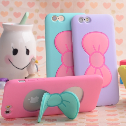 Case For iPhone 7 6S Plus Fashion Lovely 3D Bow-knot Soft Silicon Case For iPhone 6 6S 5 5SE 4 4S Candy Color Stand Holder Cover(China (Mainland))