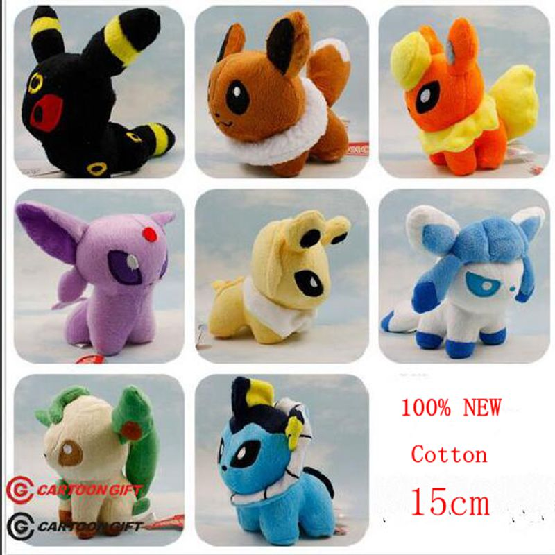 Pokemon Plush Toys Umbreon Eevee Espeon Jolteon Vaporeon Flareon Glaceon Leafeon 15cm Pokemon Stuffed Plush Animals kids toys(China (Mainland))