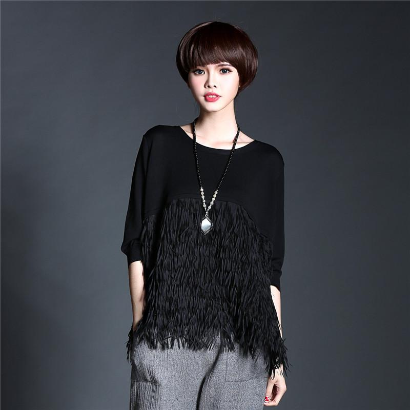 [TWOTWINSTYLE] 2016 Spring The Fresh Fashionable Women T-Shirt Design Tassel Tops High Street Plus Size XXLОдежда и ак�е��уары<br><br><br>Aliexpress