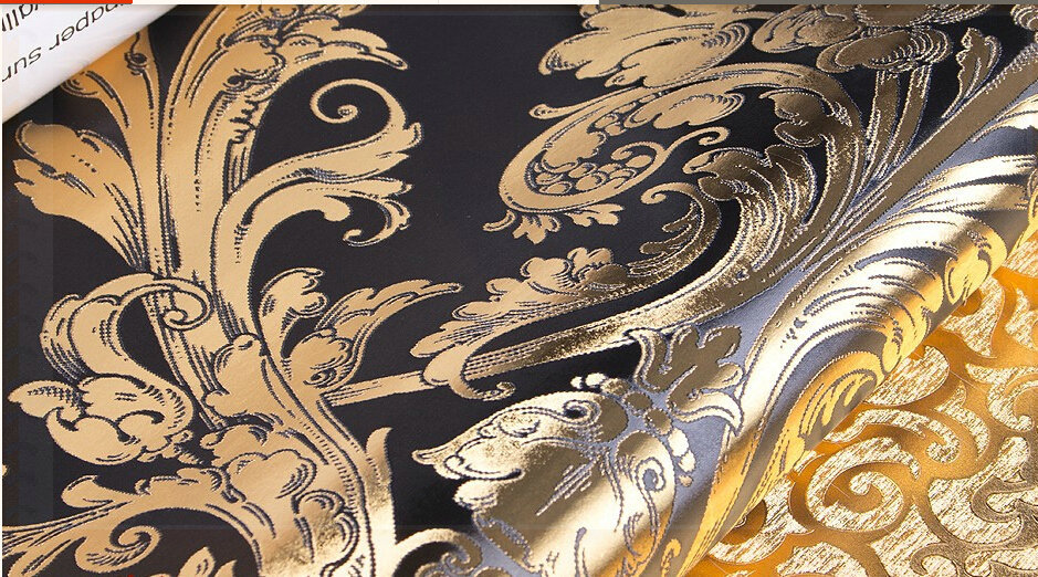 Luxurious damascus pattern black and golden color for Black and gold living room wallpaper