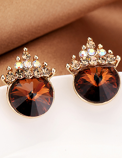 Hot Sale!!2015 Vintage Brown Korea Gold Plated With Satellite Stone Set Auger Crown Stud Earrings for Women In Jewelry Wholesale(China (Mainland))