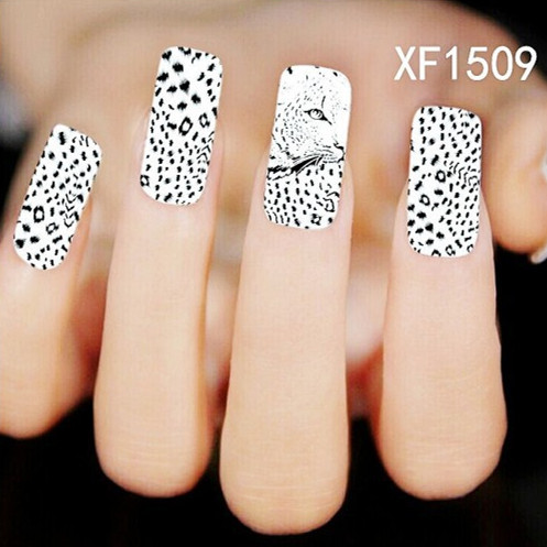 [D-XFXF1509]1 Sheet Creative Leopard Water Transfer Nail Full Wrap Decal Nail Art Decoration Stickers Tips(China (Mainland))