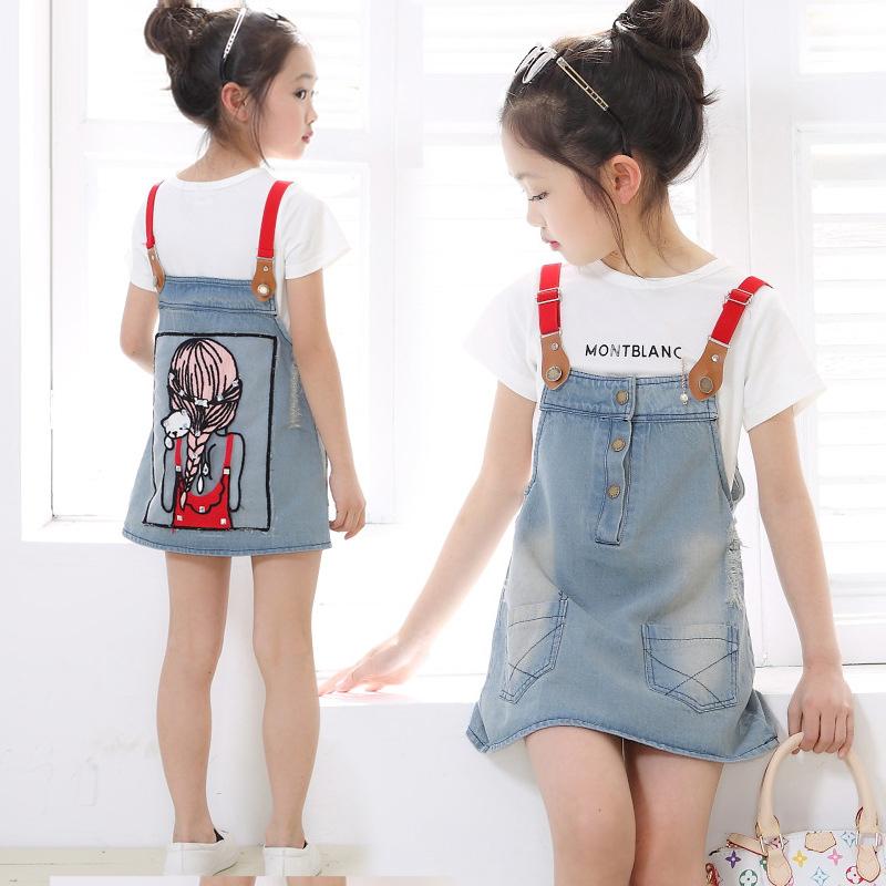 High fashion dress 2015 summer baby girl costume cute denim sundress