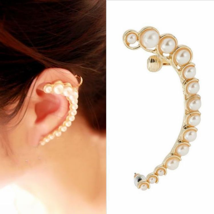 2015 brand new pearl accessories Fashion club women for Jewelry one ear earring vintage gold silver Ear Clip cuff Earrings(China (Mainland))