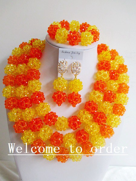 2015 Fashion african yellow crystal beads necklace set nigerian wedding african beads jewelsry et Free shipping P-2468<br>