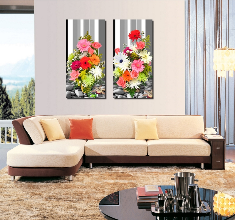 bright colorful flowers painting 2 panels canvas art painting decorative painting wall decoration art unique gift bright colorful home