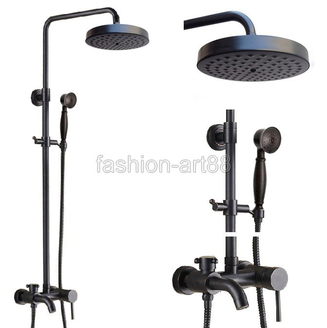 Black Wall Mount Bathroom Faucet : Black Oil Rubbed Brass Wall Mounted Single Handle Bathroom Rainfall ...