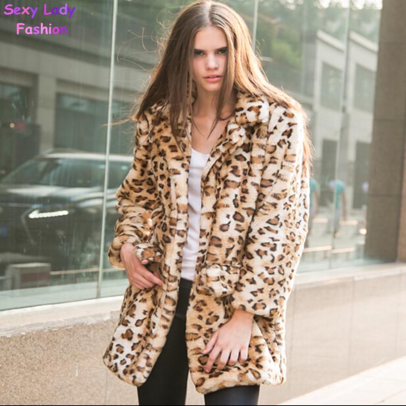 Long Leopard Shaggy Furry Faux Rabbit Fur Coat Lapel Long sleeve Hairy Long Faux Fur Blazer Thick Outwear S - XXL 5 Colors(China (Mainland))