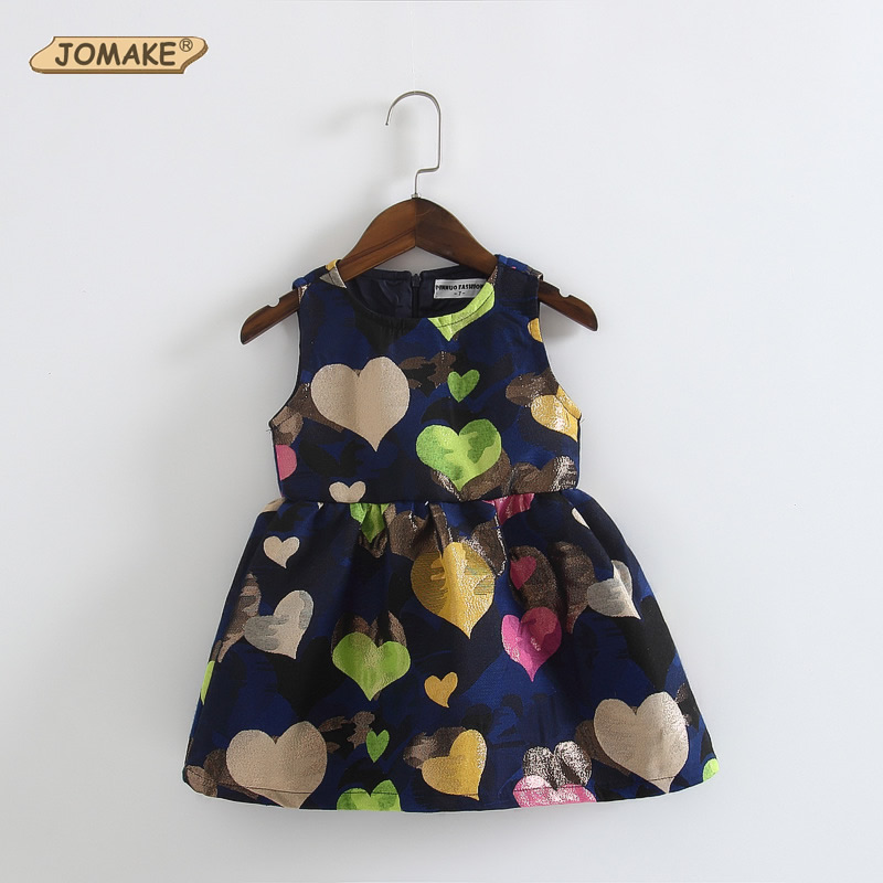 2016 New Summer Girl Dress Princess Party Dresses Kids Clothes Children Clothing Colorful Love Printing Sleeveless  -  JOMAKE Store store