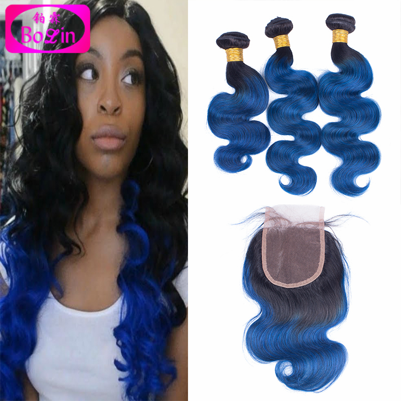4pcs Ombre Brazilian Hair With Closure #1B/hot pink Two Tone Human Hair Bundles With Lace Closures Ombre Hair weft With Closure<br><br>Aliexpress