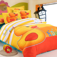 Reactive Printing Bedding Sets Duvet Cover/Bed Sheet/Pillowcase King/Queen/Twin Size Yellow Duck/Doraemon Kids Bedding Bed Linen(China (Mainland))