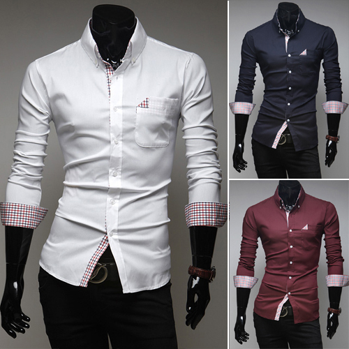 2014 Men's Fashion New Plaid Pocket Decorative Casual Long-sleeved Slim Shirt 3 Colors Size:M,L,XL,XXL 4[9616] - YOHOO SHOP store