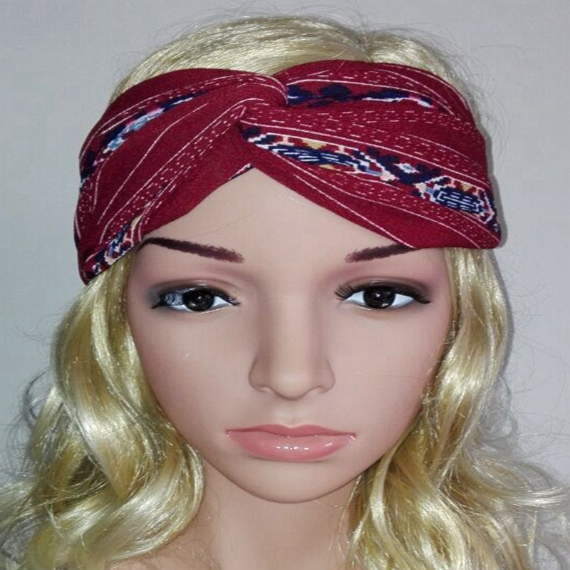 10pcs/lot 2016 new women's Cross printing Bohemia hair band knot headwrap women hair accessories turban headband(China (Mainland))