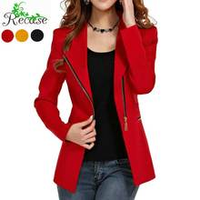2016 Side Zipper Female Blazer Jackets Long Sleeve Slim Fashion Women Autumn Outerwear Coat 2XL Black Red Yellow Office NZ-BZ-1