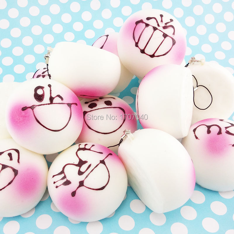 Squishy Bun Diy : 7CM Pink Expression DIY Face Squishy Phone Straps Soft Bread Scented Buns Simulation Food Key ...