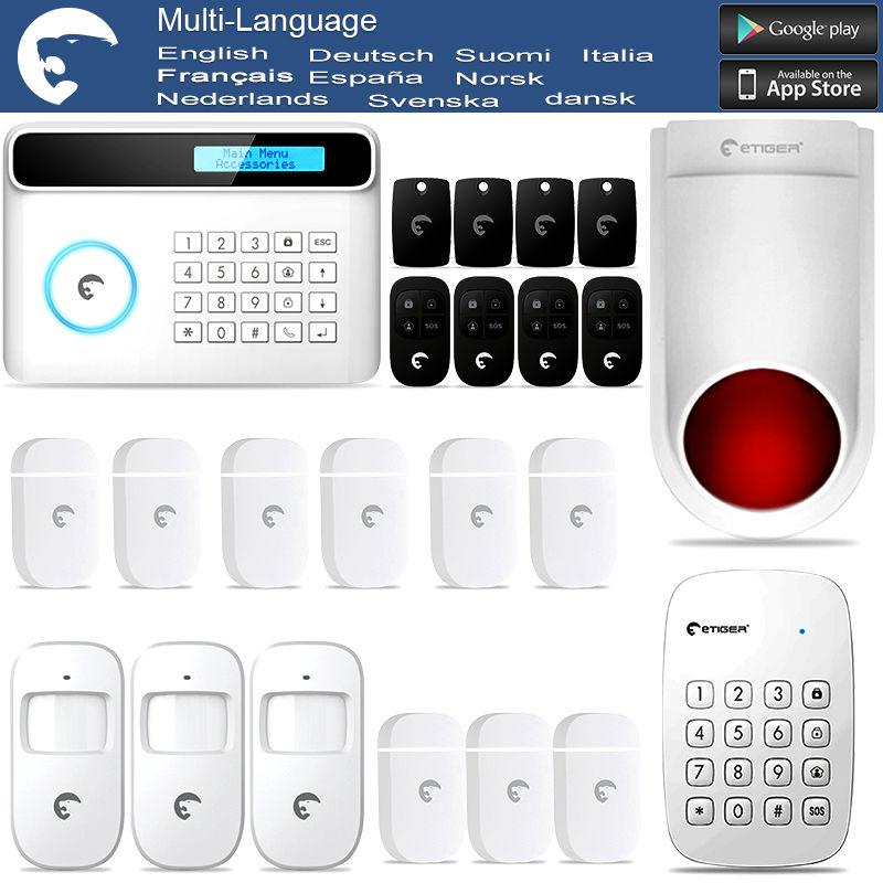 Wireless & Wired eTIGER GSM/PSTN Burglar Alarm System For Home/Office Wireless Keypad & Strobe Siren(China (Mainland))