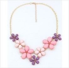 YANA Jewelry Fashion 2 Colors Crystal Candy Flower Pendants Necklaces Statement Choker Necklace For Woman 2015 New Gift Hot 38(China (Mainland))
