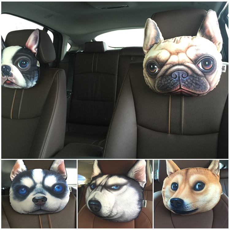 Гаджет  New 3D Print Dog face Seat Covers Activated carbon Car Headrest Supplies Neck Auto Safety Pillow Newest  None Автомобили и Мотоциклы